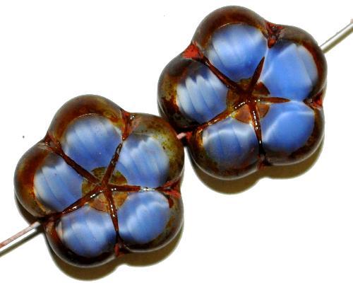 Best.Nr.:67543 Glasperlen / Table Cut Beads Blüten Perlettglas blau mit picasso finish,  hergestellt in Gablonz / Tschechien