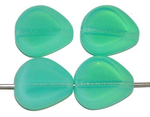 Best.Nr.:67545 Glasperlen / Table Cut Beads geschliffen, Opalglas türkisgrün Rand mattiert (frostet), hergestellt in Gablonz / Tschechien