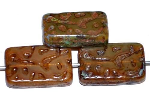Best.Nr.:67547 Glasperlen / Table Cut Beads geschliffen Opalglas beigbraun mit picasso finish, hergestellt in Gablonz / Tschechien