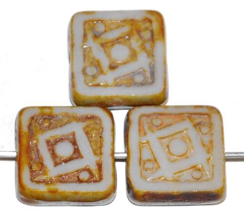Best.Nr.:67554 Glasperlen / Table Cut Beads geschliffen hellgrau opak mit picasso finish, nach alten Vorlagen aus den 1920 Jahren in Gablonz/Tschechien neu gefertigt