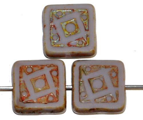 Best.Nr.:67555 Glasperlen / Table Cut Beads geschliffen malve opak mit picasso finish, nach alten Vorlagen aus den 1920 Jahren in Gablonz/Tschechien neu gefertigt