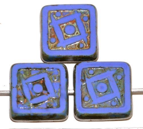 Best.Nr.:67556 Glasperlen / Table Cut Beads geschliffen blau opak mit picasso finish, nach alten Vorlagen aus den 1920 Jahren in Gablonz/Tschechien neu gefertigt