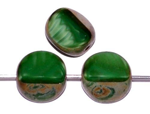 Best.Nr.:67559 Glasperlen / Table Cut Beads geschliffen  Perlettglas grün mit picasso finish, hergestellt in Gablonz / Tschechien