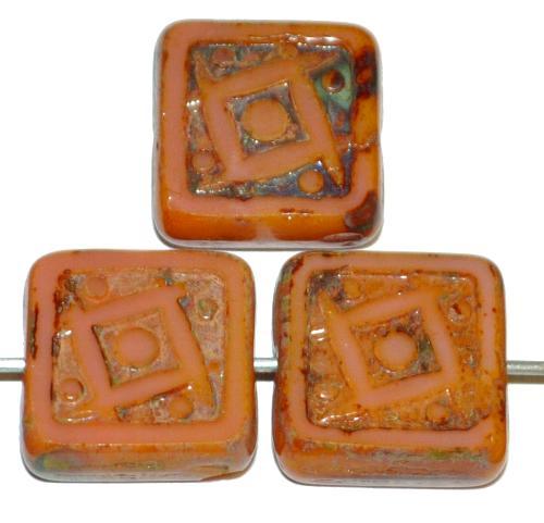 Best.Nr.:67560 Glasperlen / Table Cut Beads geschliffen puder opak mit picasso finish, nach alten Vorlagen aus den 1920 Jahren in Gablonz/Tschechien neu gefertigt