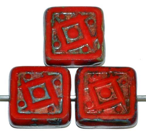 Best.Nr.:67561 Glasperlen / Table Cut Beads geschliffen rot opak mit picasso finish, nach alten Vorlagen aus den 1920 Jahren in Gablonz/Tschechien neu gefertigt