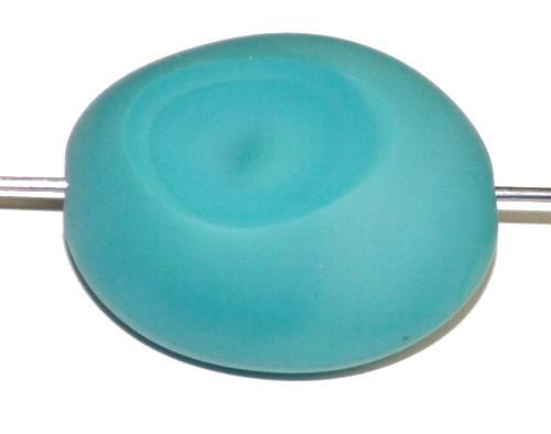 Best.Nr.:67562 Glasperlen / Table Cut Beads geschliffen türkis opak Rand mattiert (frostet), hergestellt in Gablonz / Tschechien