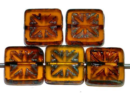 Best.Nr.:67564 Glasperlen / Table Cut Beads geschliffen mit Travertin-Veredelung, nach alten Vorlagen aus den 1920 Jahren neu gefertigt