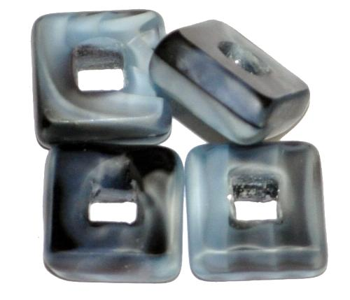 Best.Nr.:67567 Glasperlen / Table Cut Beads geschliffen, Perlettglas grau Rand mattiert, hergestellt in Gablonz / Tschechien