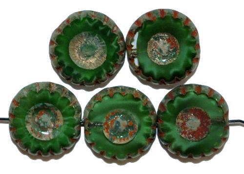 Best.Nr.:67587 Glasperlen / Table Cut Beads  geschliffen, Perlettglas dunkelgrün mit picasso finish,  hergestellt in Gablonz / Tschechien