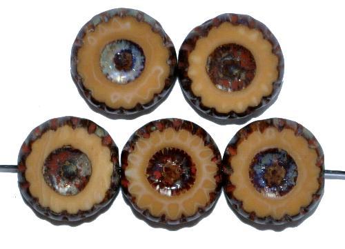 Best.Nr.:67591 Glasperlen / Table Cut Beads geschliffen hellbraun opak mit picasso finish,  hergestellt in Gablonz / Tschechien