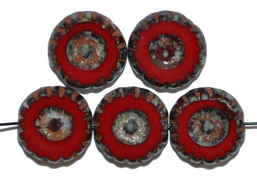 Best.Nr.:67592 Glasperlen / Table Cut Beads geschliffen rot opak, hergestellt in Gablonz / Tschechien rot mit Travertin-Veredelung
