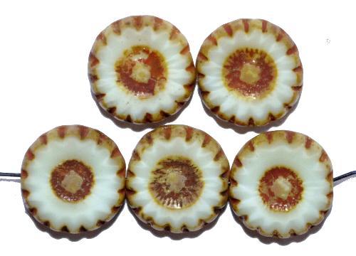 Best.Nr.:67594 Glasperlen / Table Cut Beads geschliffen, ecru mit picasso finish,  hergestellt in Gablonz / Tschechien