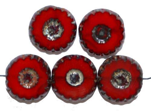 Best.Nr.:67595 Glasperlen / Table Cut Beads  geschliffen, rot teiltransparent mit picasso finish,  hergestellt in Gablonz / Tschechien