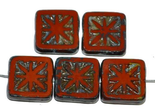 Best.Nr.:67596 Glasperlen / Table Cut Beads geschliffen, braun mit Travertin-Veredelung, nach alten Vorlagen aus den 1920 Jahren neu gefertigt