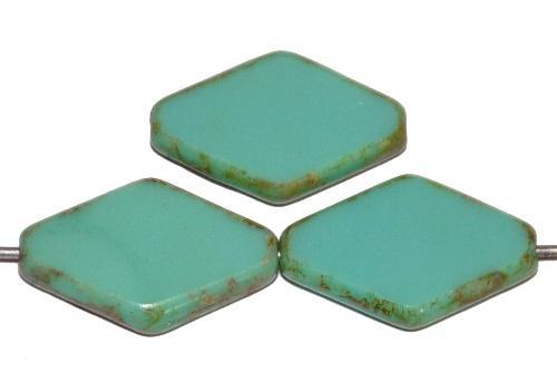 Best.Nr.:67632 Glasperlen / Table Cut Beads geschliffen türkis opak mit picasso finish, hergestellt in Gablonz / Tschechien
