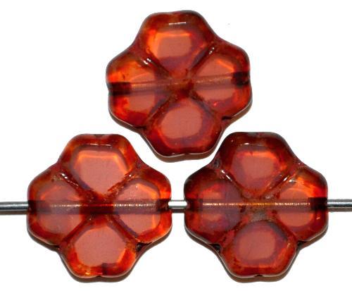 Best.Nr.:67641 Glasperlen / Table Cut Beads geschliffen Blüten  rosa opal mit picasso finish,  hergestellt in Gablonz / Tschechien