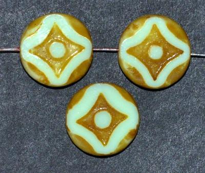 Best.Nr.:67655 Glasperlen / Table Cut Beads lindgrün opak, geschliffen mit picasso finish