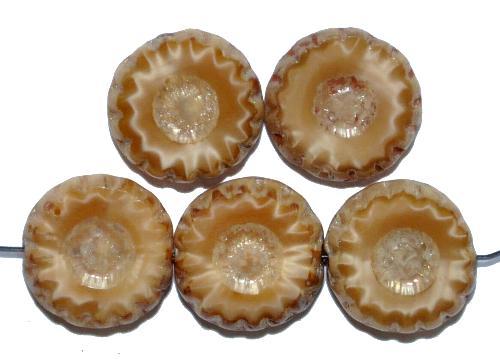 Best.Nr.:67660 Glasperlen / Table Cut Beads Perlettglas hellbraun geschliffen mit picasso finish,  hergestellt in Gablonz / Tschechien