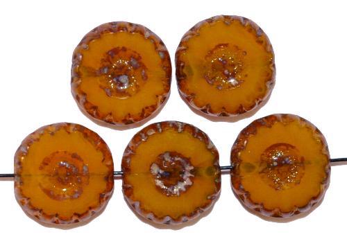 Best.Nr.:67662 Glasperlen / Table Cut Beads  geschliffen, amber mit picasso finish,  hergestellt in Gablonz / Tschechien