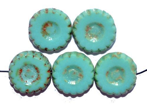 Best.Nr.:67664 Glasperlen / Table Cut Beads geschliffen mint opak  mit picasso finish,  hergestellt in Gablonz / Tschechien