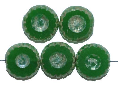 Best.Nr.:67665 Glasperlen / Table Cut Beads  geschliffen, alabastergrün mit picasso finish,  hergestellt in Gablonz / Tschechien