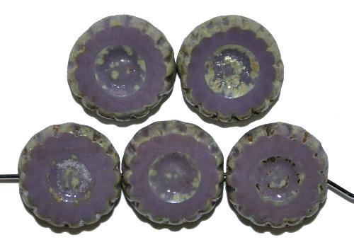 Best.Nr.:67666 Glasperlen / Table Cut Beads geschliffen violett opak mit picasso finish,  hergestellt in Gablonz / Tschechien