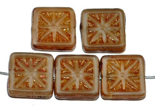 Best.Nr.:67667 Glasperlen / Table Cut Beads geschliffen mit Travertin-Veredelung, nach alten Vorlagen aus den 1920 Jahren neu gefertigt