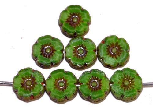 Best.Nr.:67669 Glasperlen / Table Cut Beads Blüten geschliffen Perlettglas grün mit picasso finish, hergestellt in Gablonz / Tschechien