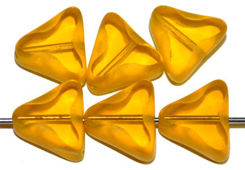 Best.Nr.:67677 Glasperlen / Table Cut Beads geschliffen gelbtransp. Rand mattiert mit Silverlüster, hergestellt in Gablonz / Tschechien
