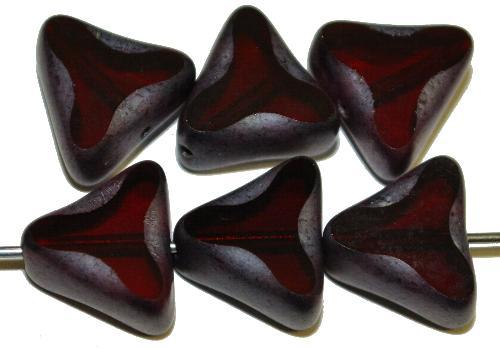 Best.Nr.:67678 Glasperlen / Table Cut Beads geschliffen dunkles granatrot/ Rand mattiert mit Silverlüster, hergestellt in Gablonz / Tschechien