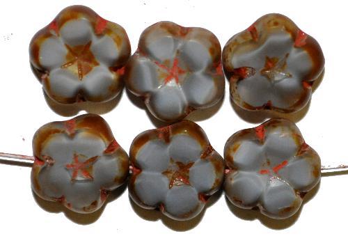 Best.Nr.:67686  Glasperlen / Table Cut Beads Blüten  Perlettglas grau,  Blüten geschliffen mit picasso finish,  hergestellt in Gablonz / Tschechien