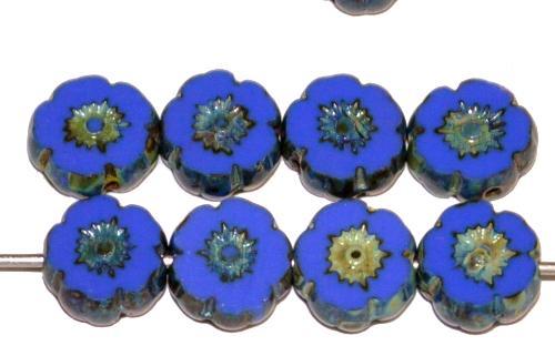 Best.Nr.:67691 Glasperlen / Table Cut Beads geschliffen, mittelblau opak mit picasso finish, hergestellt in Gablonz Tschechien