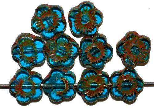 Best.Nr.:67691 Glasperlen / Table Cut Beads  Blütenform montanablue mit picasso finish,  hergestellt in Gablonz / Tschechien