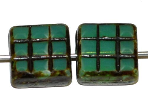 Best.Nr.:67708 Glasperlen / Table Cut Beads geschliffen, Opalglas oceangreen mit picasso finish, hergestellt in Gablonz Tschechien