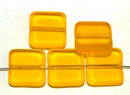 Best.Nr.: 67721 Glasperlen / Table Cut Beads  geschliffen, gelb transp., Rand mattiert,  hergestellt in Gablonz / Tschechien