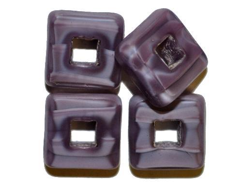 Best.Nr.: 67723 Glasperlen / Table Cut Beads  geschliffen, Perlettglas violett Rand mattiert,  hergestellt in Gablonz / Tschechien