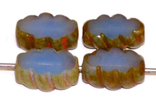 Best.Nr.:67728 Glasperlen / Table Cut Beads geschliffen  Opalglas blau mit picasso finish,  hergestellt in Gablonz / Tschechien