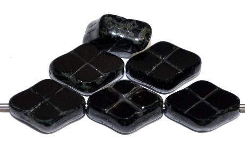 Best.Nr.:67730 Glasperlen / Table Cut Beads geschliffen schwarz mit picasso finish, hergestellt in Gablonz / Tschechien