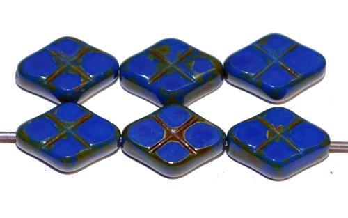 Best.Nr.:67737 Glasperlen / Table Cut Beads geschliffen blau opak mit Travertin-Veredelung, hergestellt in Gablonz / Tschechien
