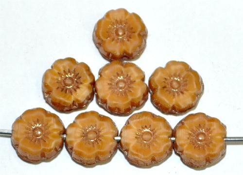 Best.Nr.:67739 Glasperlen / Table Cut Beads Blüten geschliffen  beige hellbraun meliert mit antikbronze finish, hergestellt in Gablonz / Tschechien