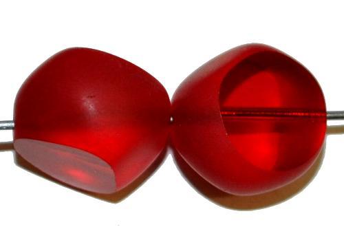Best.Nr.:67740 Glasperlen / Table Cut Beads geschliffen, rot transp., Rand mattiert, hergestellt in Gablonz / Tschechien