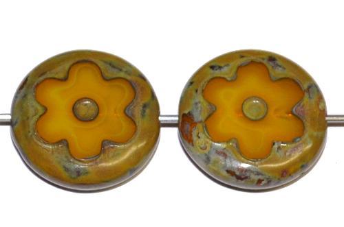 Best.Nr.:67745 Glasperlen / Table Cut Beads geschliffen, Alabasterglas Ambar mit picasso finish, hergestellt in Gablonz Tschechien
