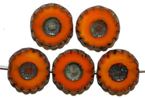 Best.Nr.:67768 Glasperlen / Table Cut Beads  geschliffen, kurkuma mit picasso finish,  hergestellt in Gablonz / Tschechien