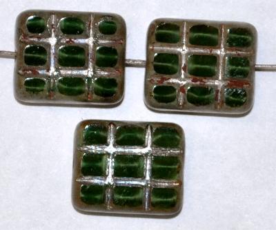 Best.Nr.:67783 Glasperlen geschliffen / Table Cut Beads, grün Perlettglas, mit eingepägtem Rechteckornament und burning silver picasso finish