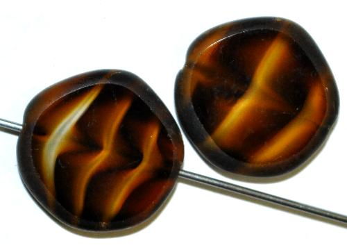 Best.Nr.:67793 Glasperlen / Table Cut Beads  geschliffen, tigerauge, Rand mattiert,  hergestellt in Gablonz / Tschechien