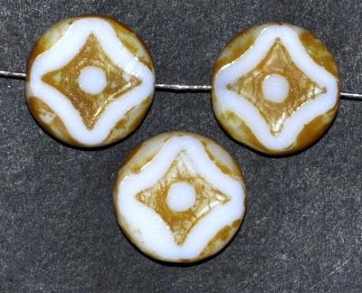 Best.Nr.:67803 Glasperlen / Table Cut Beads weiß opak, geschliffen mit picasso finish