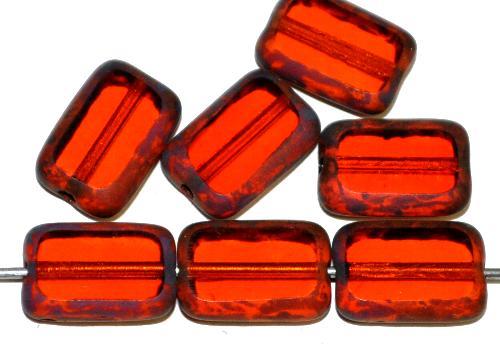 Best.Nr.:67815  Glasperlen / Table Cut Beads  Rechtecke geschliffen,  orange transp. mit picasso finish,  hergestellt in Gablonz / Tschechien