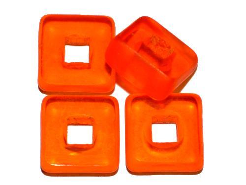 Best.Nr.: 67820 Glasperlen / Table Cut Beads   geschliffen, orange transp., Rand mattiert,   hergestellt in Gablonz / Tschechien