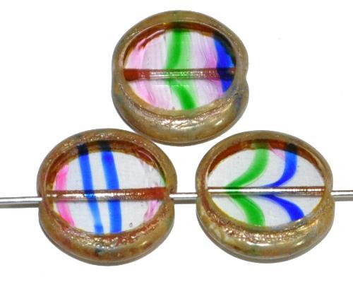 Best.Nr.:67820 Glasperlen / Table Cut Beads geschliffen  bunt transp. mit picasso finish, hergestellt in Gablonz / Tschechien