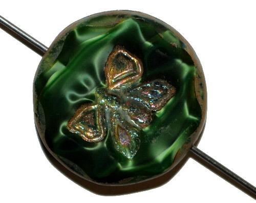 Best.Nr.:67824 Glasperlen / Table Cut Beads  Perlettglas grün, mit eingeprägtem Schmetterling,  geschliffen mit burning silver picasso finish, hergestellt in Gablonz / Tschechien